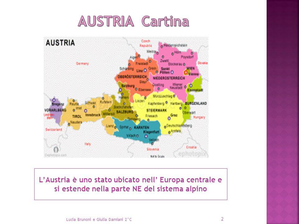 AUSTRIA Cartina L'Austria è uno stato ubicato nell' Europa centrale e si estende nella parte NE del sistema alpino.