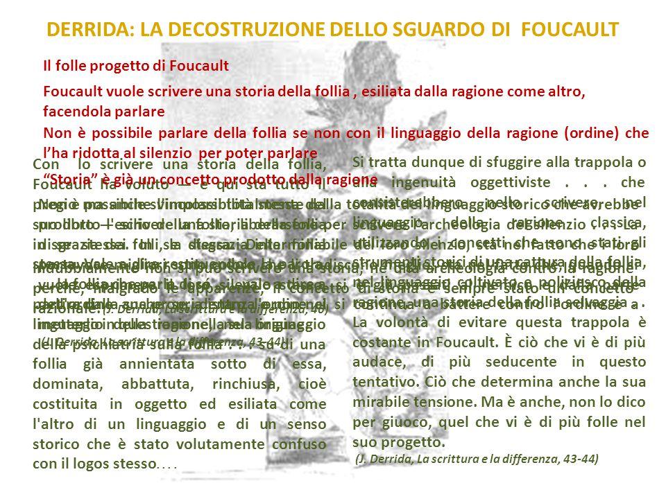 DERRIDA: LA DECOSTRUZIONE DELLO SGUARDO DI FOUCAULT