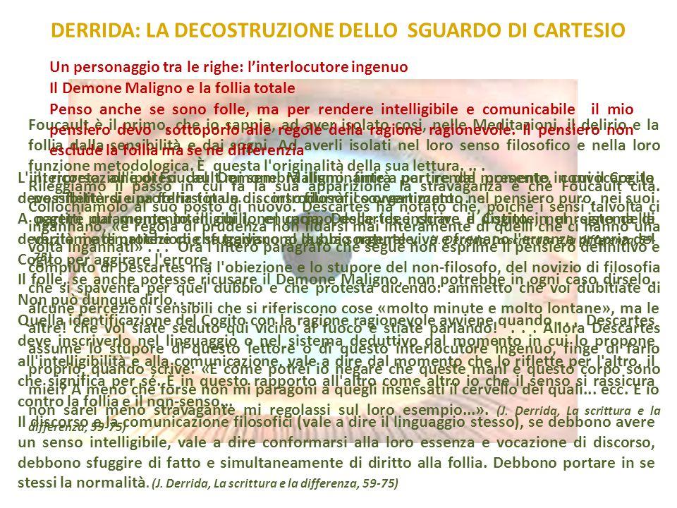 DERRIDA: LA DECOSTRUZIONE DELLO SGUARDO DI CARTESIO