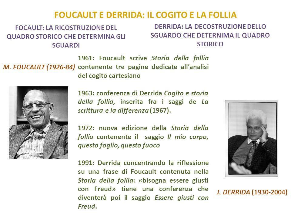 FOUCAULT E DERRIDA: IL COGITO E LA FOLLIA