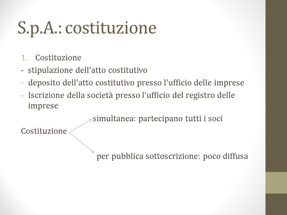 S.p.A.: costituzione Costituzione - stipulazione dell atto costitutivo