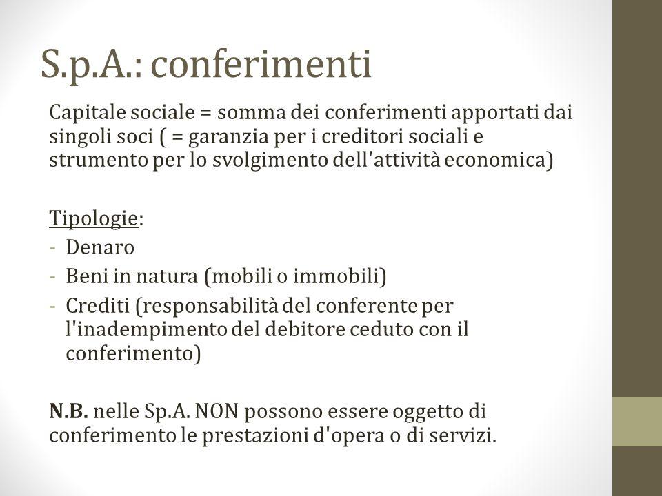 S.p.A.: conferimenti