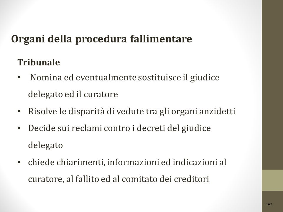Organi della procedura fallimentare