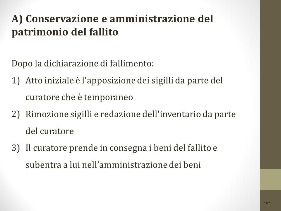 A) Conservazione e amministrazione del patrimonio del fallito