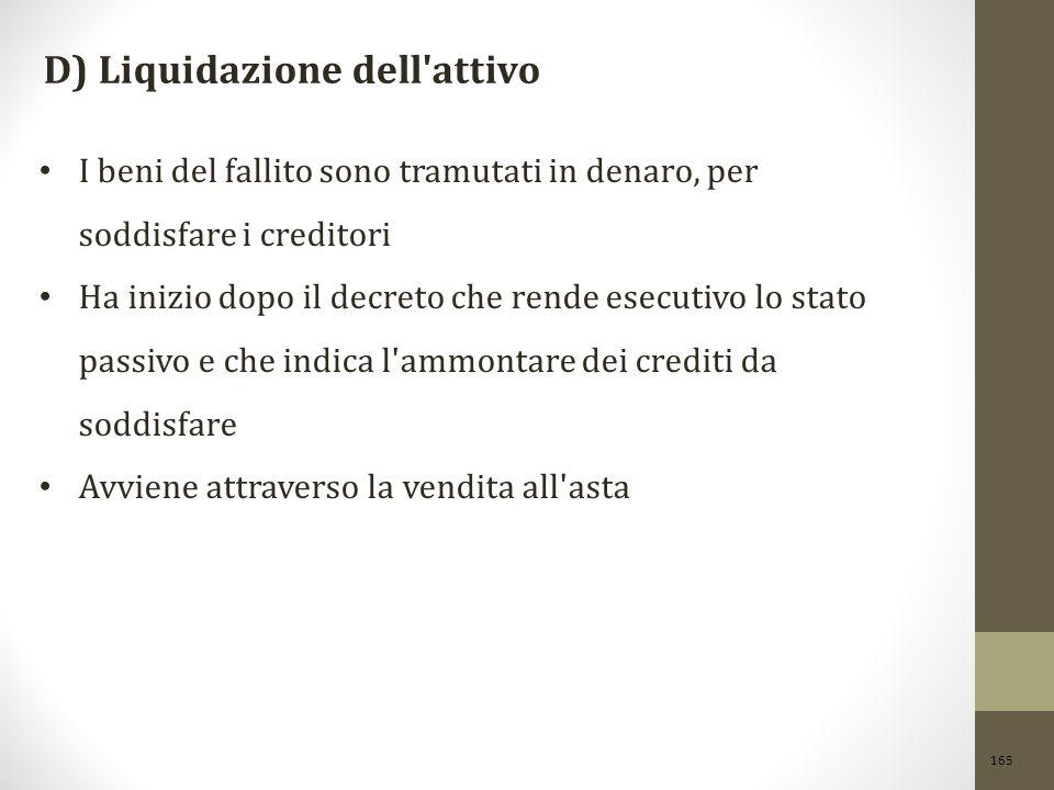 D) Liquidazione dell attivo