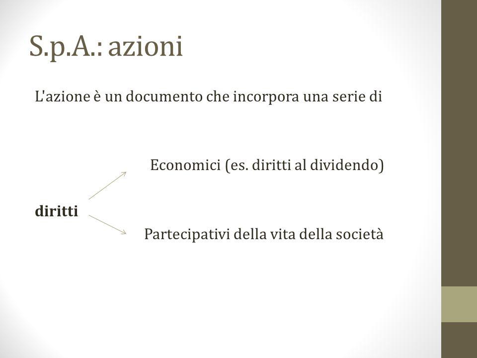 S.p.A.: azioni L azione è un documento che incorpora una serie di
