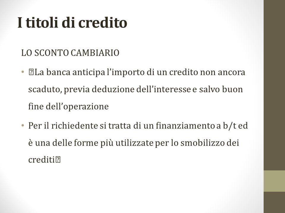 I titoli di credito LO SCONTO CAMBIARIO
