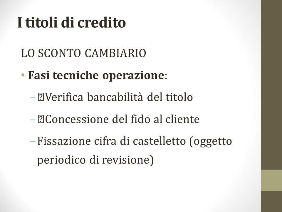 I titoli di credito LO SCONTO CAMBIARIO Fasi tecniche operazione: