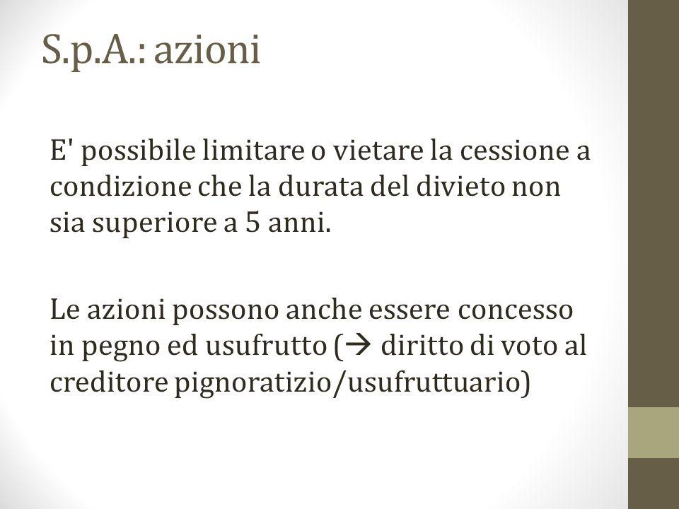 S.p.A.: azioni