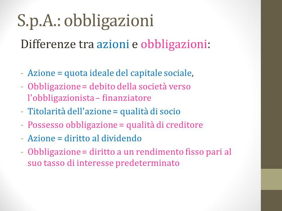 S.p.A.: obbligazioni Differenze tra azioni e obbligazioni: