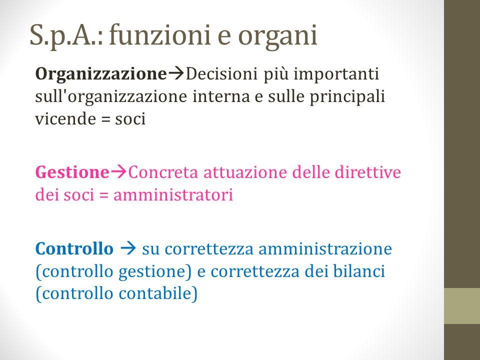 S.p.A.: funzioni e organi