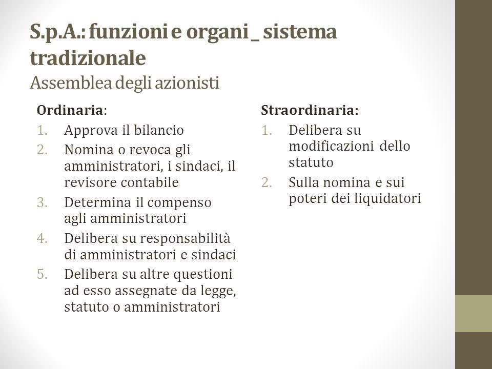S.p.A.: funzioni e organi _ sistema tradizionale Assemblea degli azionisti