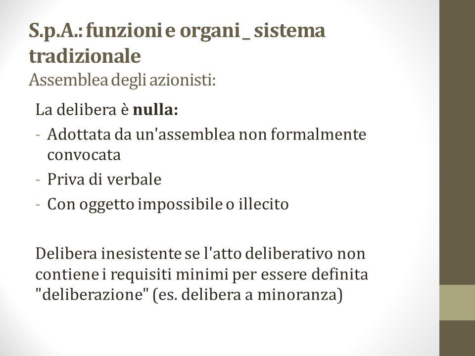 S.p.A.: funzioni e organi _ sistema tradizionale Assemblea degli azionisti:
