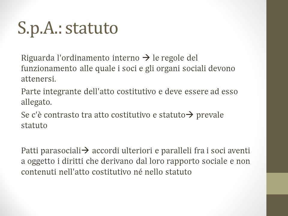 S.p.A.: statuto