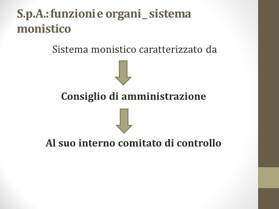 S.p.A.: funzioni e organi _ sistema monistico