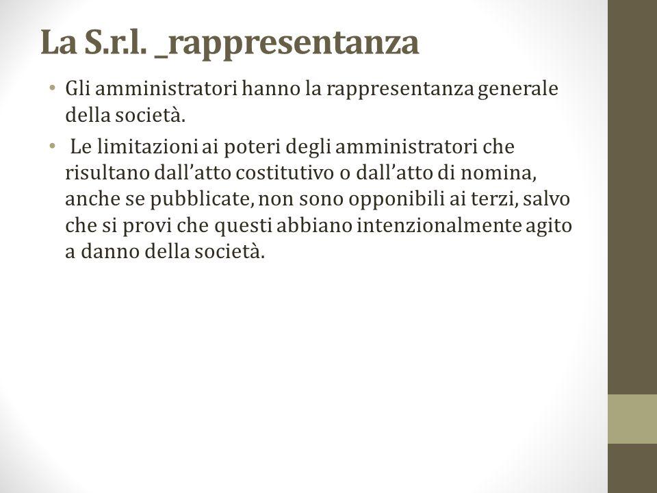 La S.r.l. _rappresentanza