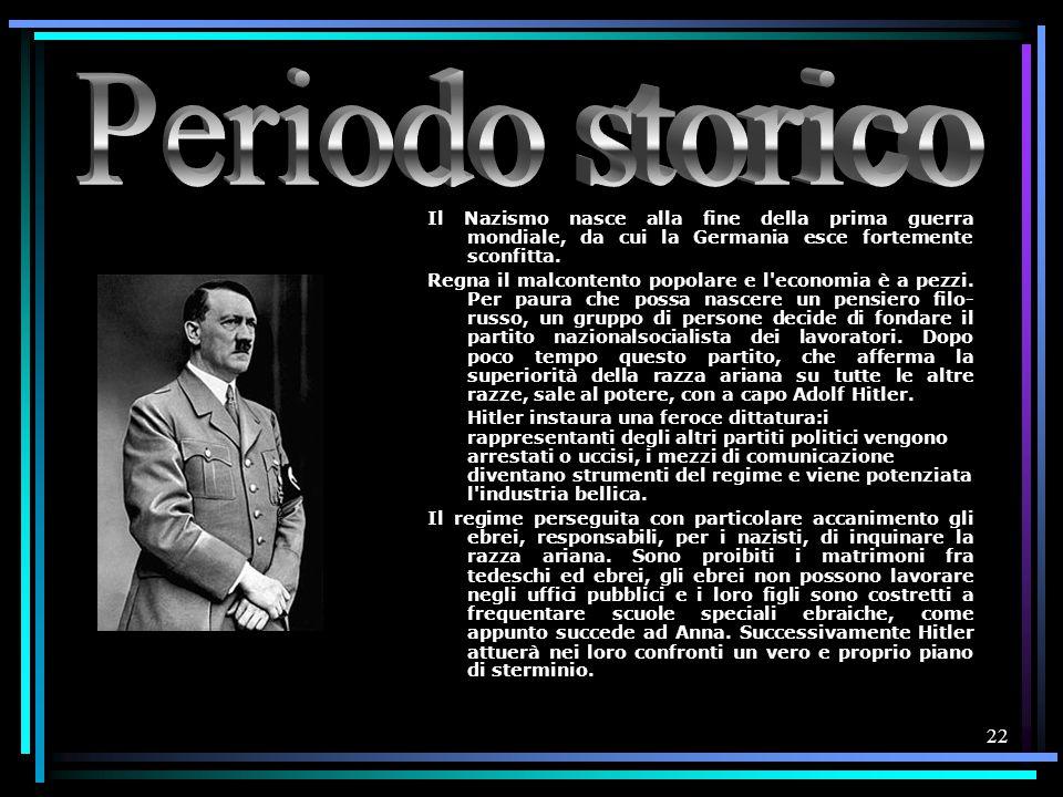 Periodo storico Il Nazismo nasce alla fine della prima guerra mondiale, da cui la Germania esce fortemente sconfitta.