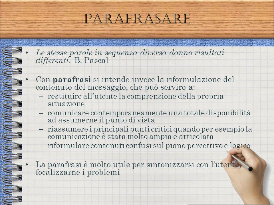 Parafrasare Le stesse parole in sequenza diversa danno risultati differenti. B. Pascal.