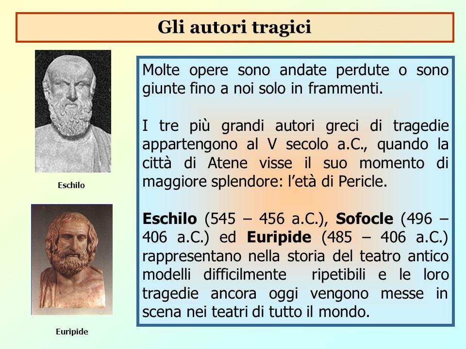 Gli autori tragici Molte opere sono andate perdute o sono giunte fino a noi solo in frammenti.