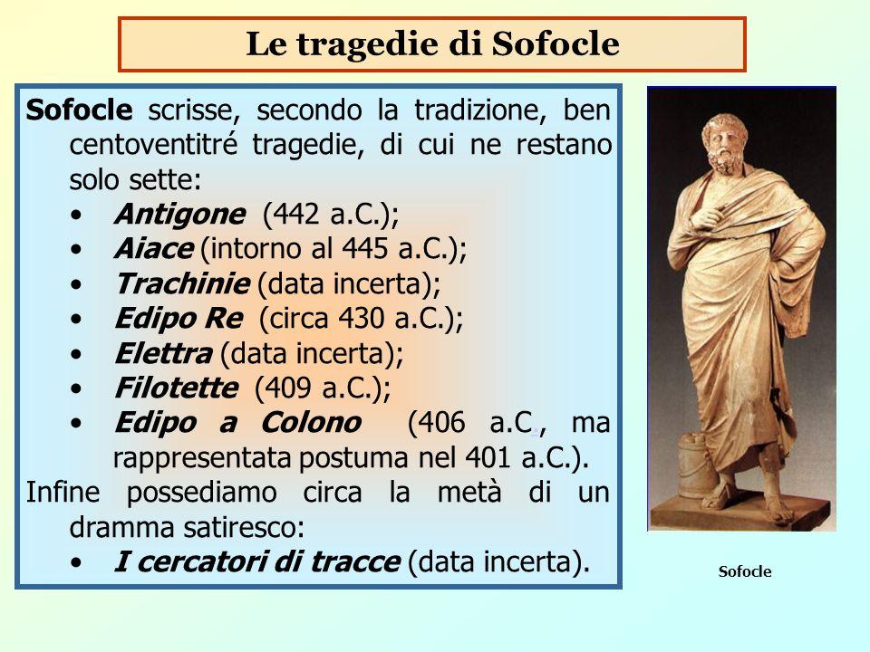 Le tragedie di Sofocle Sofocle scrisse, secondo la tradizione, ben centoventitré tragedie, di cui ne restano solo sette: