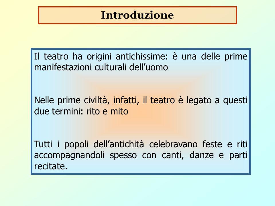 Introduzione Il teatro ha origini antichissime: è una delle prime manifestazioni culturali dell'uomo.