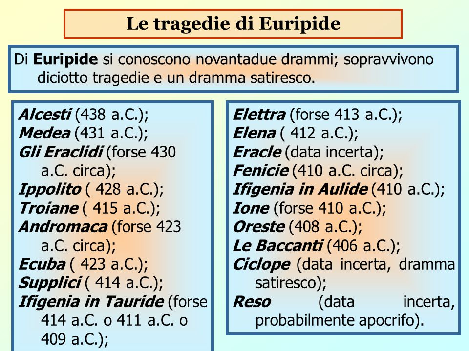 Le tragedie di Euripide