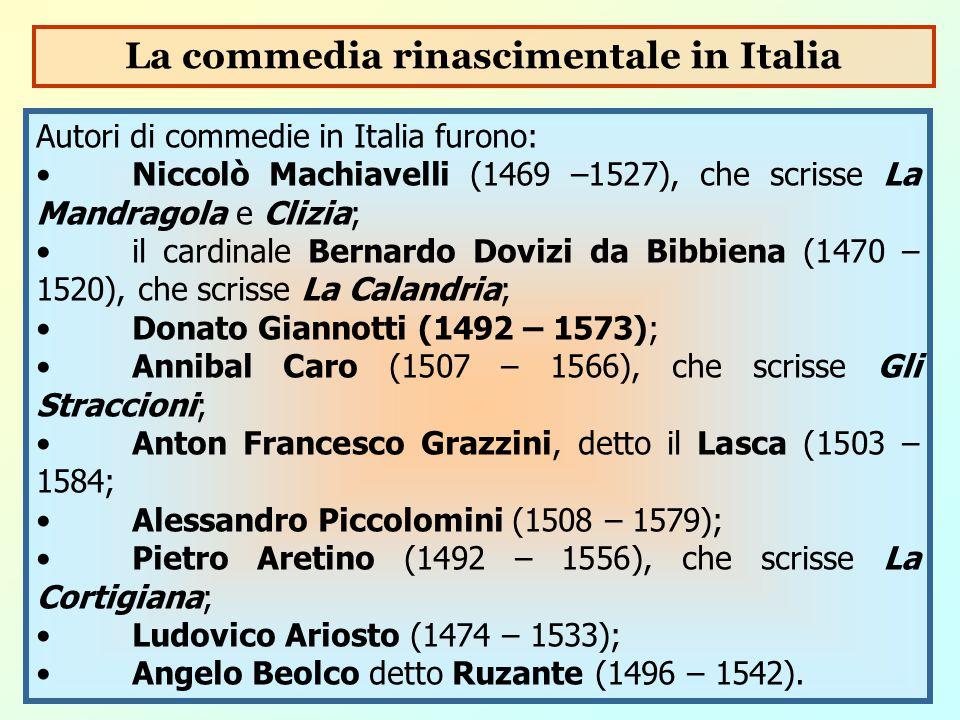 La commedia rinascimentale in Italia