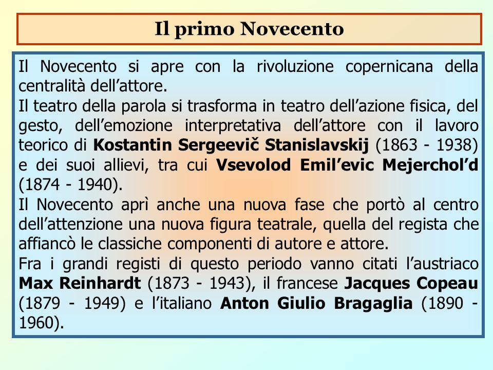 Il primo Novecento Il Novecento si apre con la rivoluzione copernicana della centralità dell'attore.