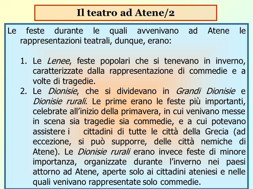 Il teatro ad Atene/2 Le feste durante le quali avvenivano ad Atene le rappresentazioni teatrali, dunque, erano: