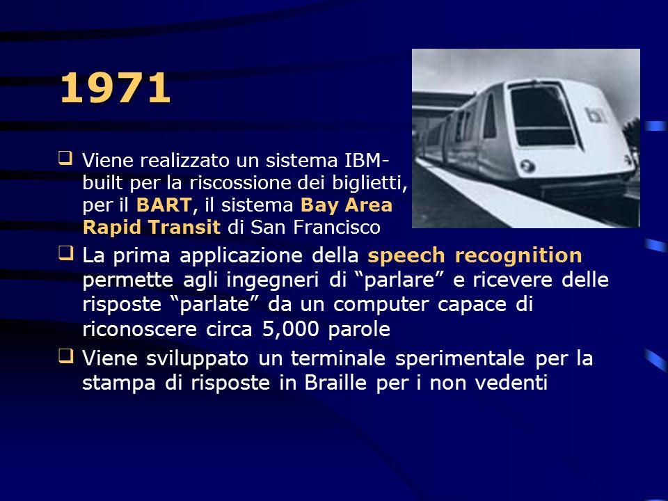 1971 Viene realizzato un sistema IBM- built per la riscossione dei biglietti, per il BART, il sistema Bay Area Rapid Transit di San Francisco.