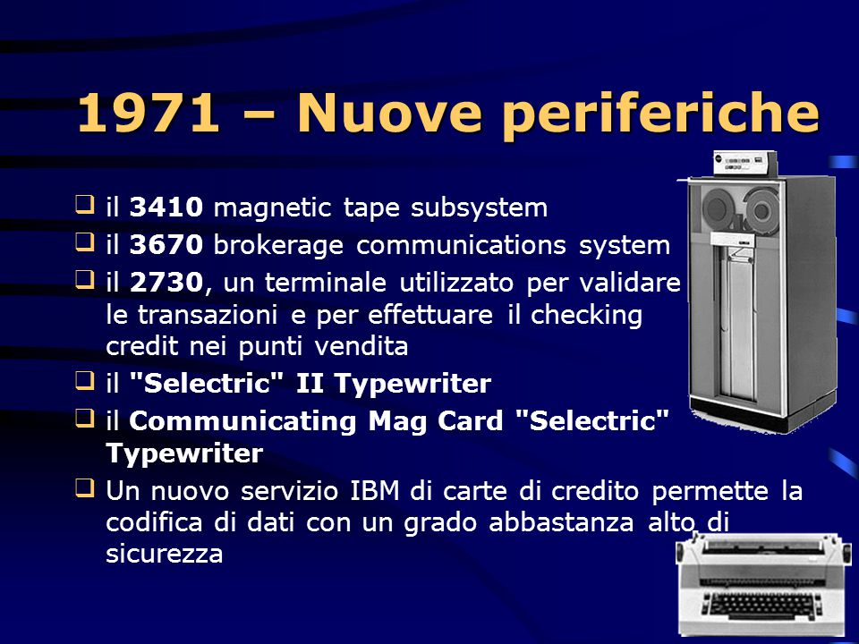 1971 – Nuove periferiche il 3410 magnetic tape subsystem