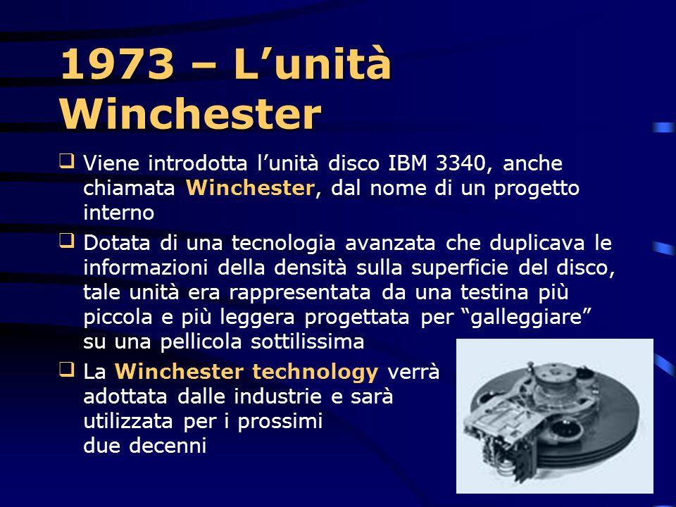 1973 – L'unità Winchester Viene introdotta l'unità disco IBM 3340, anche chiamata Winchester, dal nome di un progetto interno.