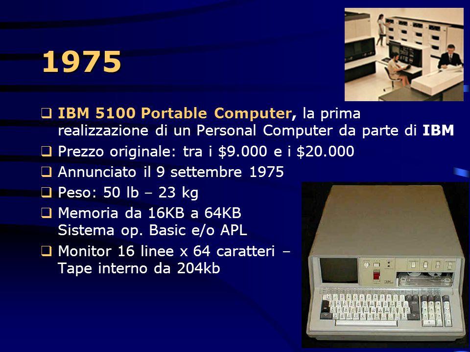 1975 IBM 5100 Portable Computer, la prima realizzazione di un Personal Computer da parte di IBM. Prezzo originale: tra i $9.000 e i $20.000.