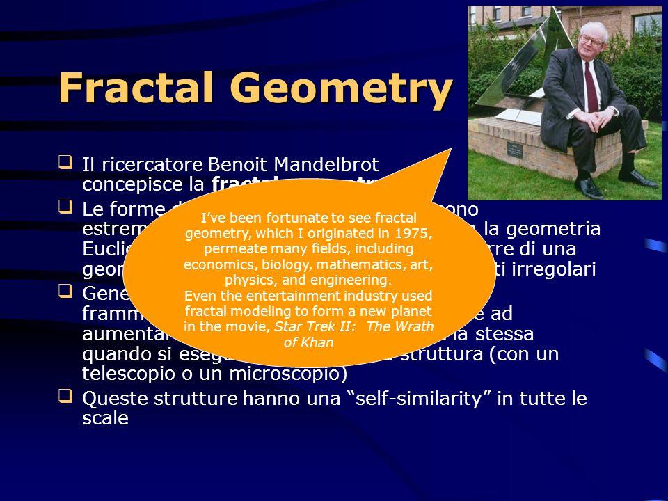 Fractal Geometry Il ricercatore Benoit Mandelbrot concepisce la fractal geometry.
