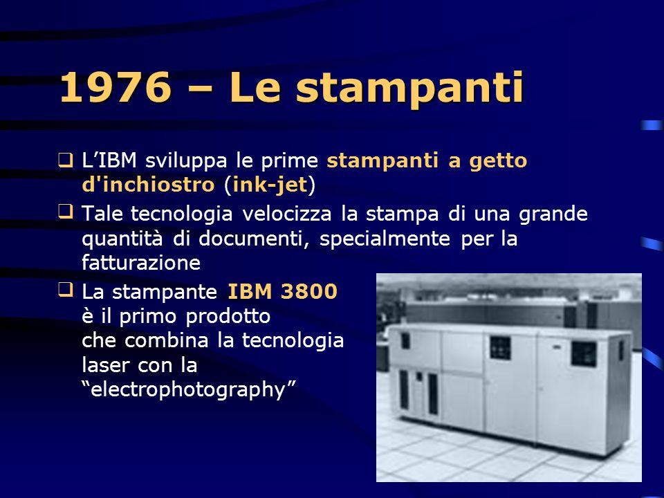 1976 – Le stampanti L'IBM sviluppa le prime stampanti a getto d inchiostro (ink-jet)