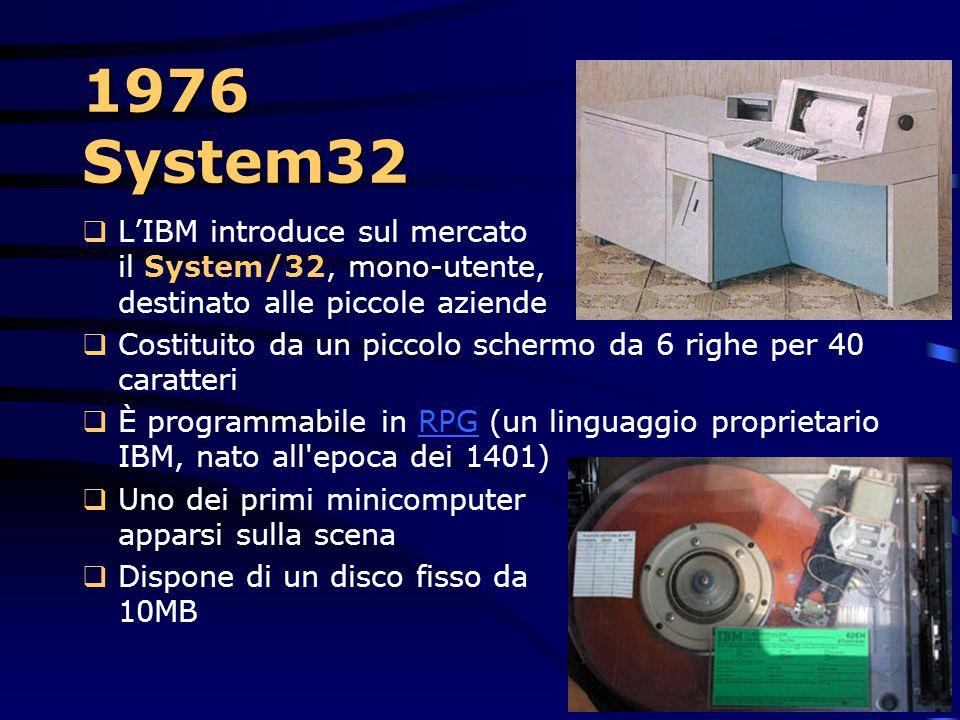 1976 System32 L'IBM introduce sul mercato il System/32, mono-utente, destinato alle piccole aziende