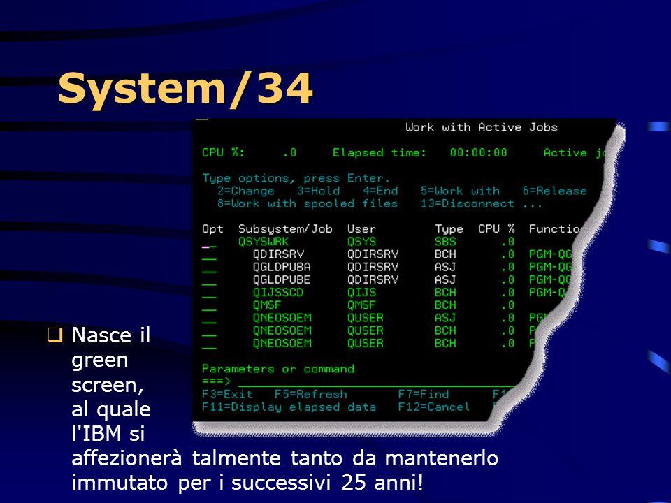 System/34 Nasce il green screen, al quale l IBM si affezionerà talmente tanto da mantenerlo immutato per i successivi 25 anni!