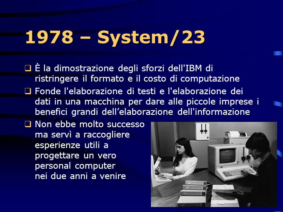1978 – System/23 È la dimostrazione degli sforzi dell IBM di ristringere il formato e il costo di computazione.