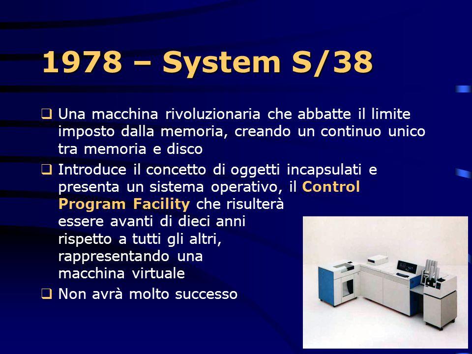 1978 – System S/38 Una macchina rivoluzionaria che abbatte il limite imposto dalla memoria, creando un continuo unico tra memoria e disco.