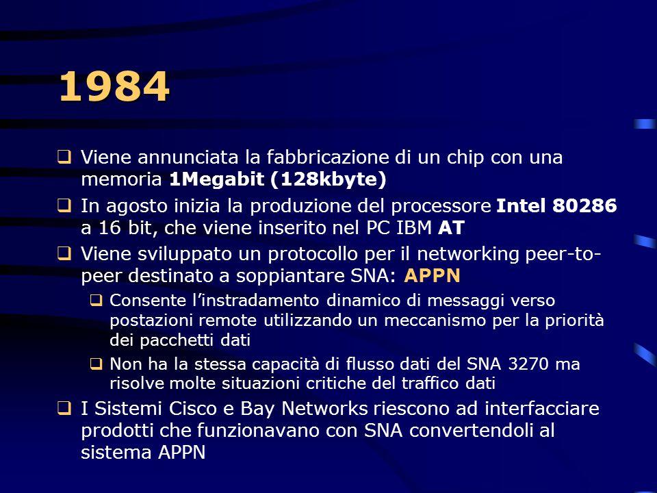 1984 Viene annunciata la fabbricazione di un chip con una memoria 1Megabit (128kbyte)