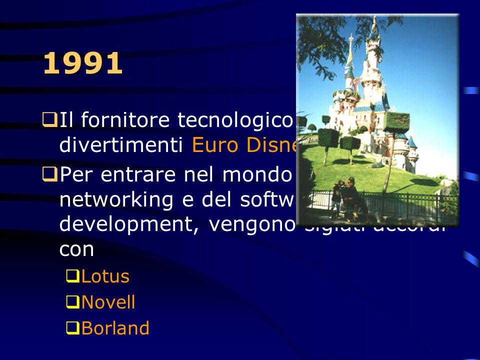 1991 Il fornitore tecnologico del parco di divertimenti Euro Disney a Parigi.