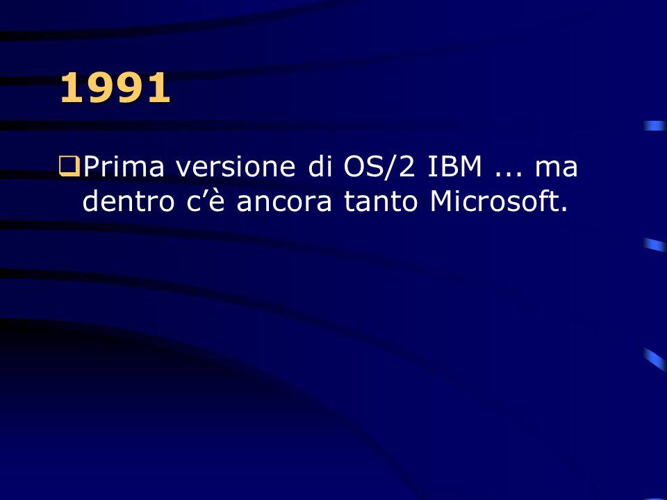 1991 Prima versione di OS/2 IBM ... ma dentro c'è ancora tanto Microsoft.