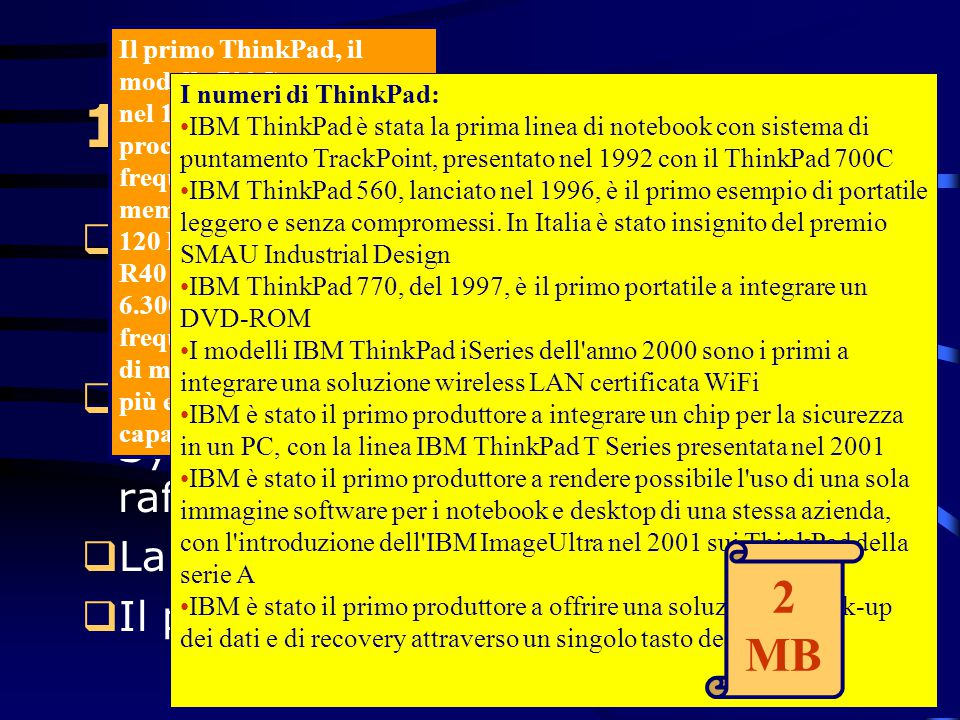 Il primo ThinkPad, il modello 700C presentato nel 1992, era dotato di un processore con 25 MHz di frequenza, 4 MB di memoria ram e un disco di 120 MB. Oggi i ThinkPad R40 hanno processori con 6.300% in più di frequenza, oltre a capacità di memoria del 12.700% in più e il 66.566% in più di capacità disco.