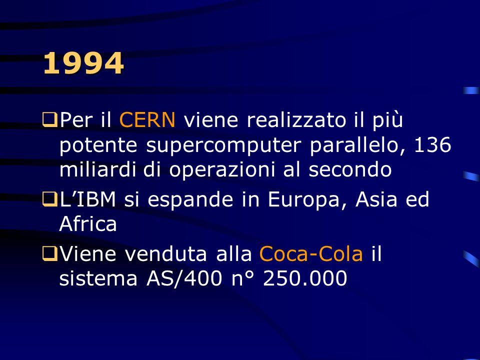 1994 Per il CERN viene realizzato il più potente supercomputer parallelo, 136 miliardi di operazioni al secondo.