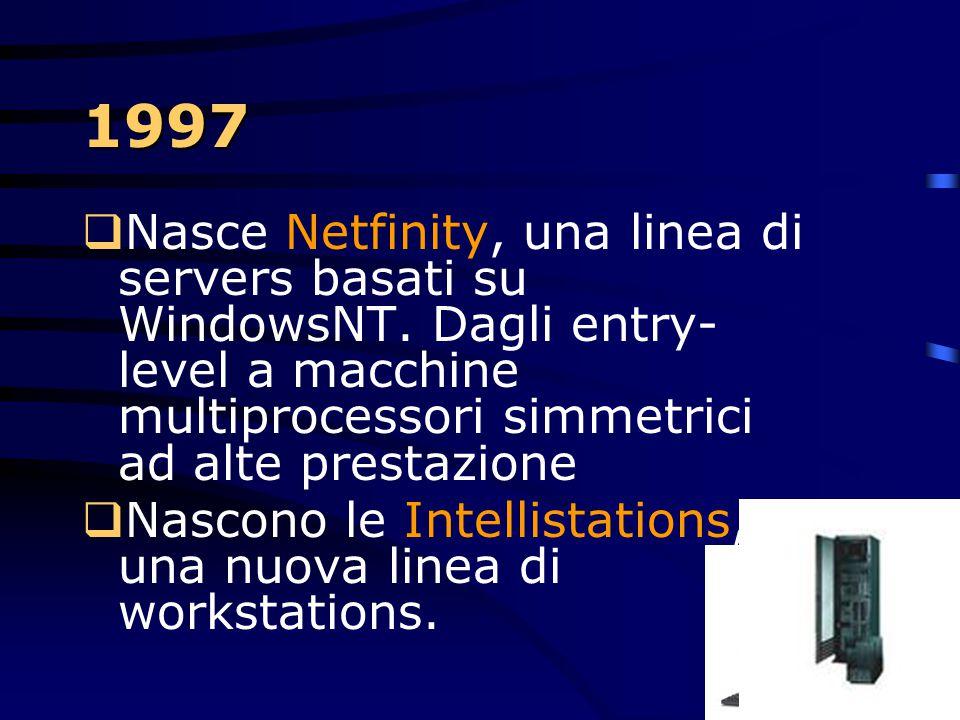 1997 Nasce Netfinity, una linea di servers basati su WindowsNT. Dagli entry-level a macchine multiprocessori simmetrici ad alte prestazione.