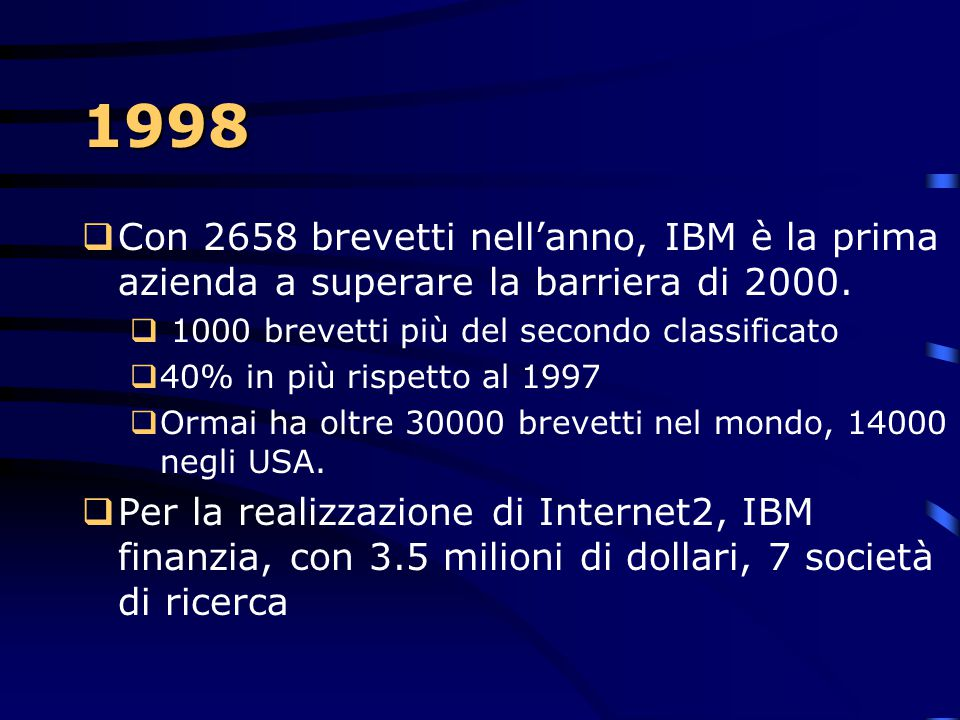 1998 Con 2658 brevetti nell'anno, IBM è la prima azienda a superare la barriera di 2000. 1000 brevetti più del secondo classificato.