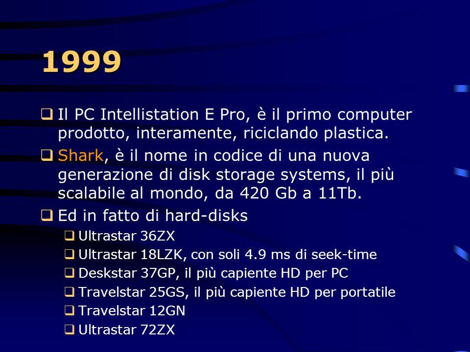 1999 Il PC Intellistation E Pro, è il primo computer prodotto, interamente, riciclando plastica.