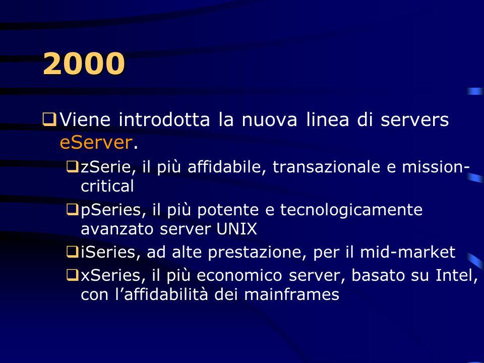 2000 Viene introdotta la nuova linea di servers eServer.