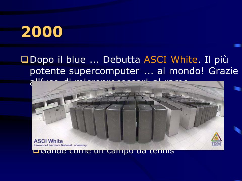 2000 Dopo il blue ... Debutta ASCI White. Il più potente supercomputer ... al mondo! Grazie all'uso di microprocessori al rame.