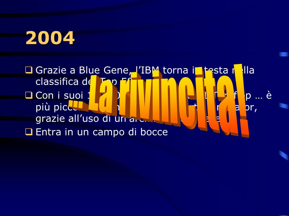 2004 Grazie a Blue Gene, l'IBM torna in testa nella classifica dei Top 500.